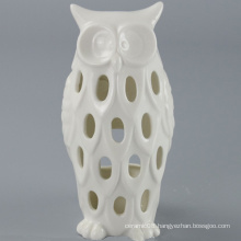 High Quality White Ceramic Owl Candle Holder