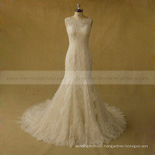 Fabulous Mermiad Beaded Lace Tulle Wedding Dress With Chapel Train