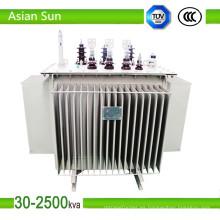 Transformador eléctrico de 200kVA transformador inmerso en aceite de 15KV