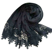Luxuriöse Marke Perlen Schal Baumwolle Viskose muslimischen Stein Schal Kanten Perlen Plain Spitze Perle Hijab Schal