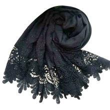 Cuentas de lujo de la marca chal de algodón viscosa piedra musulmán bufanda bordes perlas llanura de encaje perla hijab bufanda