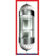 Panorama-Aufzug mit Spiegel Edelstahl Decke mit 1 Lüfter, LED weiche Lichter, 4 Set