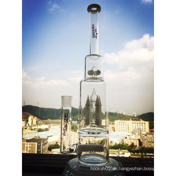 Weiß Jade Rocket und Inline 4 Buttons Perc Glas Wasser Rohr