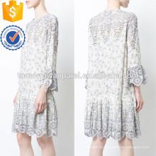 Самая последняя Конструкция 2019 Белый кружева с длинным рукавом Раффлед мини-летнее платье Производство Оптовая продажа женской одежды (TA0233D)
