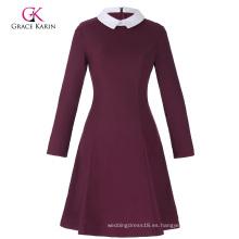 Grace Karin Mujeres con estilo y ajuste delgado manga larga contraste color muñeca Collar vino rojo A-Line Dress CL010470-2