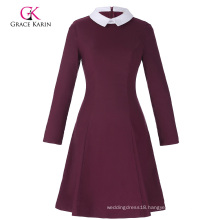 Grace Karin Women's Stylish & Slim Fit Long Sleeve Contrast Color Doll Collar Wine red A-Line Dress CL010470-2