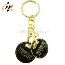 Porte-clés double personnalisé en alliage de zinc avec émail noir
