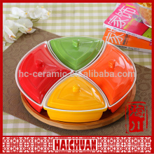 Porcelana bakeware design placa redonda e laço redondo palte