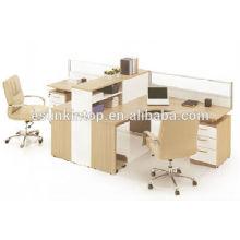Design de bureau de mobilier de bureau, bureau de bureau à deux sièges avec écran couleur teck (KW825)