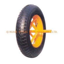 rubber wheel with simple steel rim.