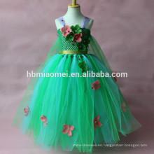 Vestido de la muchacha del verano del color verde 2017 Aliexpress, Ebay, alineada vendedora caliente del ballet del tutú de la venta al por mayor de Amazon