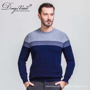 Wollblaue Farbe Handgestrickte Design Rundhals Pullover für Männer