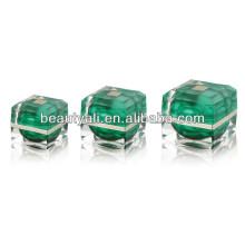 Green Square Cosmetic Acrylic Packaging Jar 15ml 30ml 50ml