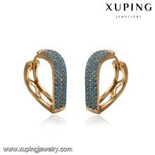 93379 nouveau design à la mode femmes bijoux vague forme turquoise pavé boucles d'oreilles