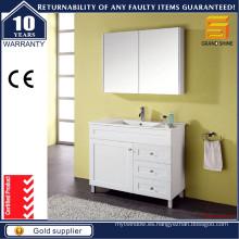Vanidades de baño de laca blanca con una puerta y tres cajones
