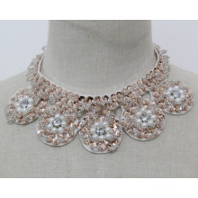 Mulheres moda jóias de lantejoulas pérola colar gargantilha colar (jE0141)