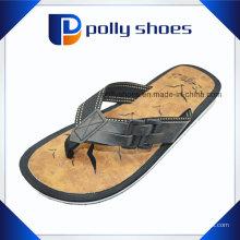 Tamanho superior 9 das sandálias do falhanço de aleta da correia superior de couro dos homens