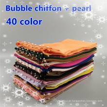 Alta qualidade tamanho grande 180 * 85 cm pérola planície cor muçulmano xales hijab pérola bolha chiffon cachecóis