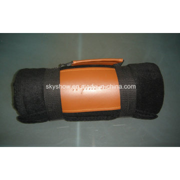 Solid Fleece Blanket with PU Handle (SSB0197)