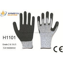 Hppe guante de trabajo de seguridad resistente a la corte de arruga de láminas (H1101)