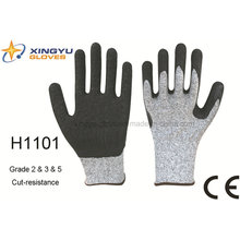 Hppe Latex Coated Crinkle Cut-Resistance Safety Work Glove (H1101)