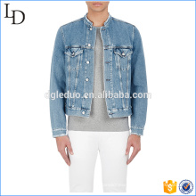 Stand collar denim bomber jacket sport plain denim hoodies jacket