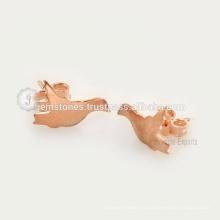 Дизайнер Ручной Птица Серьги Из Розового Золота 925 Стерлингового Серебра Серьги Изготовление Ювелирных Изделий