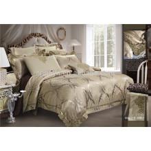 Hochwertige Poly / Baumwolle Jacquard Bestickte Bettbezug Bettwäsche Set