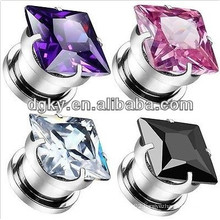 Crystal charming piercing ear jewelry ear plug