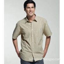 Men's Business Short Sleeve Double Pocket Stripe Cotton Shirt