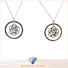 Atacado Moda Mulheres Rose Flor Pingente Jóias 925 Strling Prata colar (N6731)