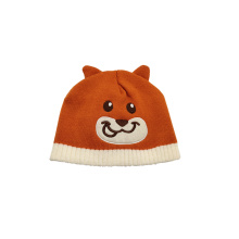 Lovely baby customized  cartoon embroidery logo  knitted hat  for kids