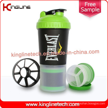 600ml Plastic Protein Shaker Bottle with Netting and Compartment (KL-7030)