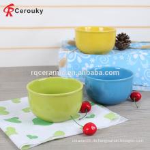 Fabrik Direktverkauf wiederverwendbare feste Farbe Keramik Salat Schüssel, Steinzeug Salat Schüssel