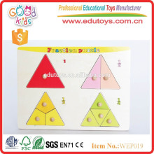 preschool educational kids wooden fraction puzzle
