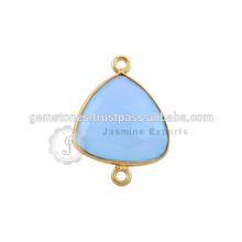 Conectores de bisel natural com pedras preciosas Natural Blue Calcedonia Gemstone connectors