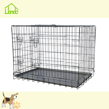 Black Double Folding Pet Dog Cage