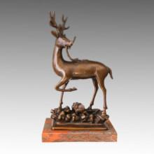 Animal Estatua Sika Deer Bronce Escultura Tpal-472
