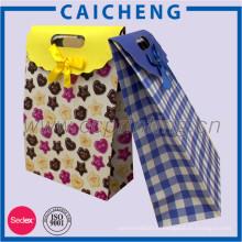 Sac-cadeau fait sur commande de papier enduit imprimé avec l'impression d'intérieur pour le paquet