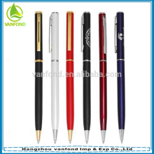 Hot selling high quality slim metal twist ballpoint pen for hotel