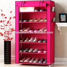 Mulit функция стальной трубы хранения обуви шкаф с полкой ткань