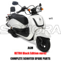 AGM Retro Black Edition SCOOTER BODY KIT PIEZAS DEL MOTOR COMPLETO SCOOTER REPUESTOS ORIGINALES REPUESTOS