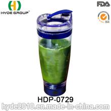 Botella plástica portátil de la agitadora de Vortex de 600ml para la proteína, botella plástica eléctrica de la coctelera de la proteína (HDP-0729)