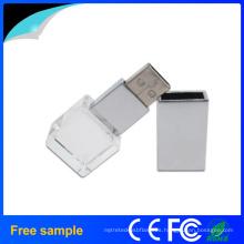 Regalo de promoción Logotipo de cuadrilátero Grabación de disco de cristal USB
