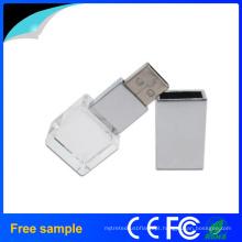 Presente promocional Quadrangle Logo Gravação Crystal USB Disk