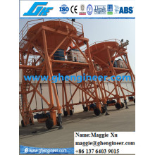 30cbm Clinker Slag Wheat Coal Rubber Tire Mobile Hopper
