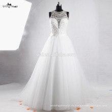 RSW851 profundo escote transparente trasero perlas botón bordado Bling lujo China por encargo vestido de bola vestido de boda