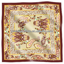 Silk Twill Muslim Scarf Paisley Pattern Square Lady Hijab