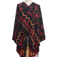 Le plus nouveau design national des coutumes femmes automne hiver coutumes ethniques jacquard châle 150 * 150 écharpe de couverture oversize