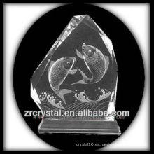 Intaglio de cristal hecho a mano K9 con pescado